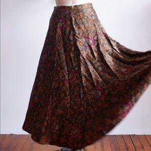 JERRY REGENBOGEN Feathers Print Silk Skirt